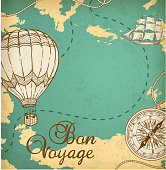 Map with ship and balloon air.