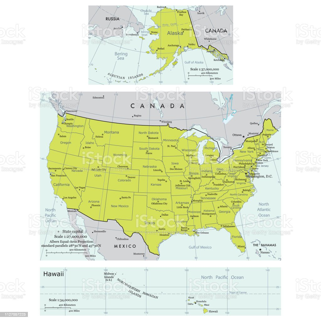 Usa Map With States And Cities Stock Illustration - Download ...