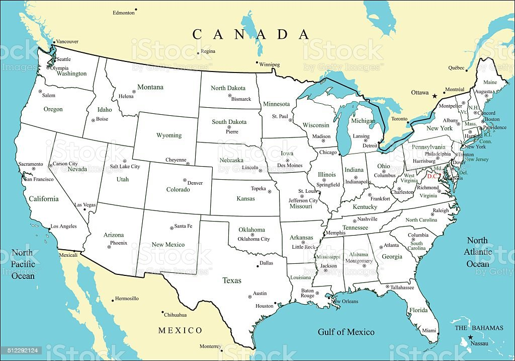 Map United States Major Cities Map Holiday Travel Download Free - Usa map capitals