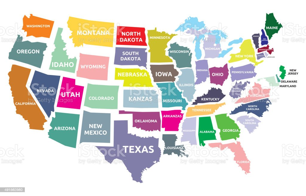 USA map with states vector art illustration