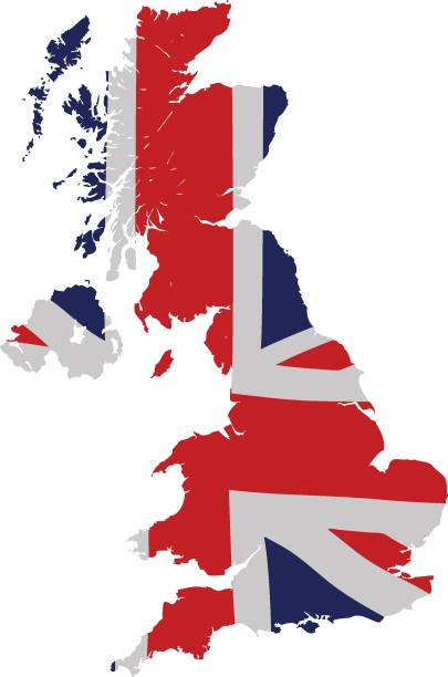 uk map with union jack - union jack flag stock illustrations, clip art, cartoons, & icons