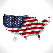 USA map with waving flag isolated white background, vector illustration