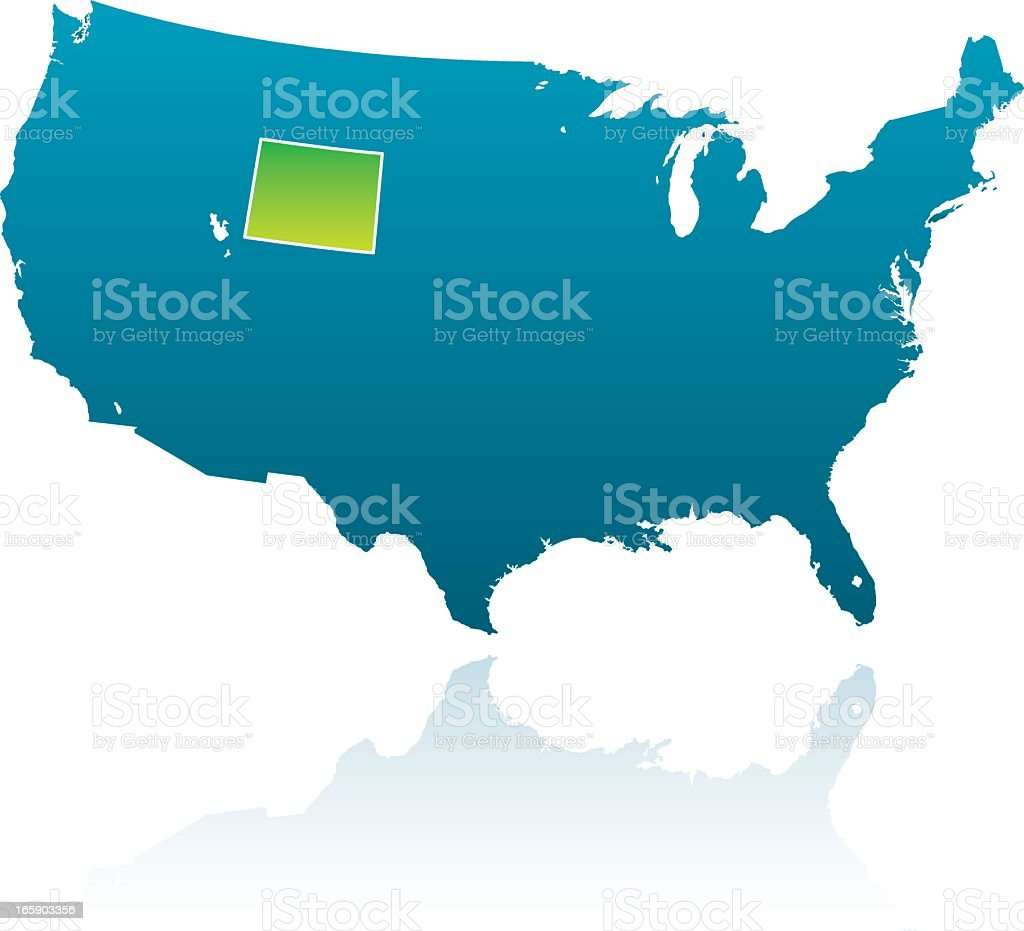 US map with Wyoming highlighted royalty-free stock vector art