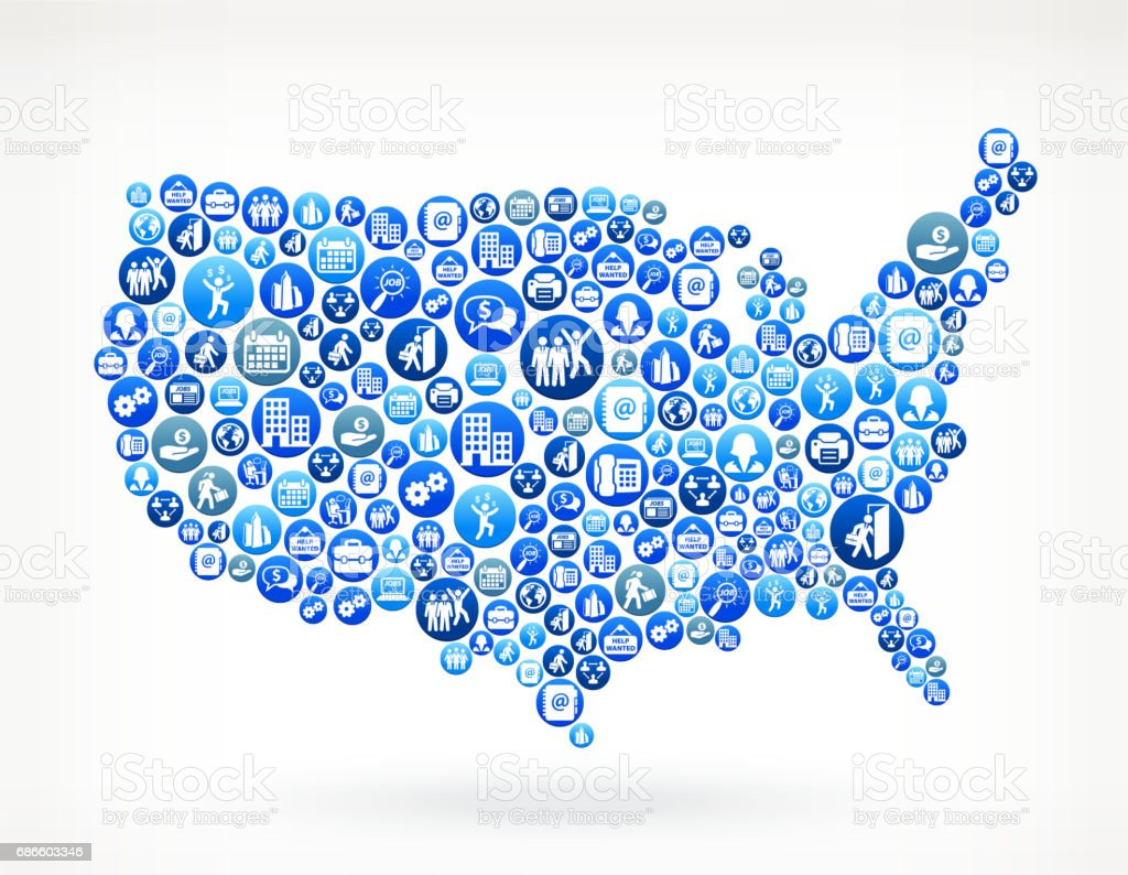 USA Map Work and Employment Blue Vector Button Pattern royalty-free usa map work and employment blue vector button pattern stock vector art & more images of adult
