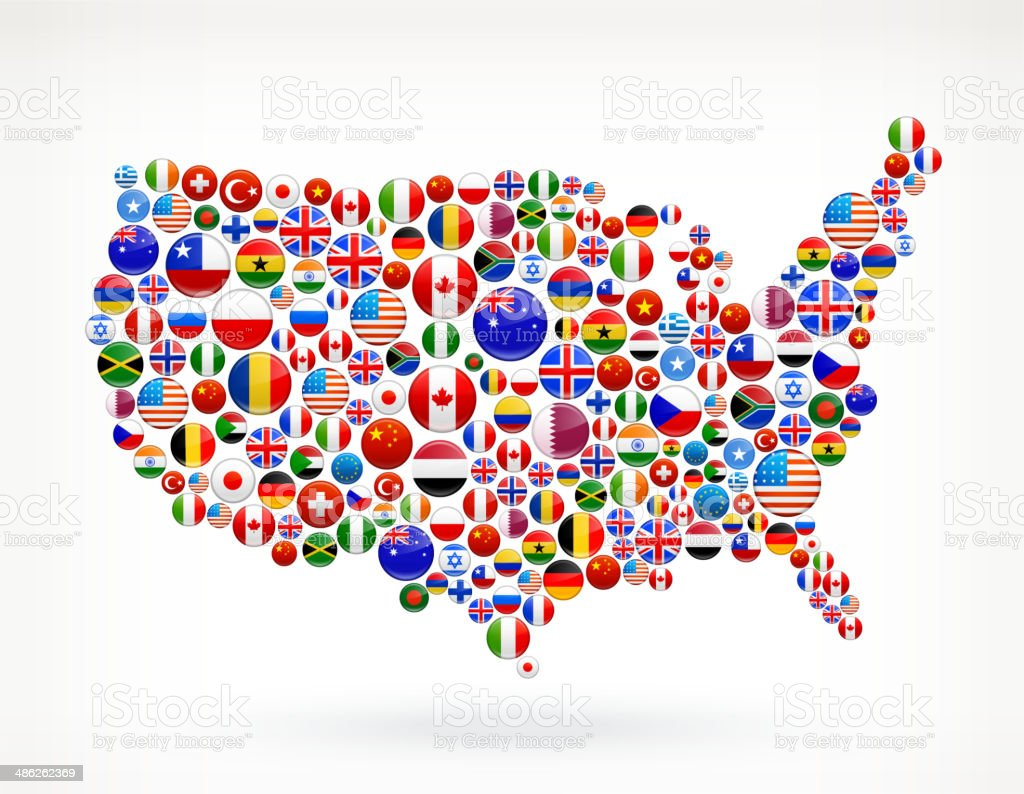Map Of World Flags.Usa Map World Flags Royalty Free Graphic Stock Vector Art More