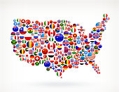 USA Map Royalty free vector World Flag Buttons. The Flags of the world include US flag stars and stripes, Maple Leave Canada Flag, United Kingdom Flag, European Union flag, flag of Israel, German flag and many more national flags. Icon download includes vector art and jpg file.
