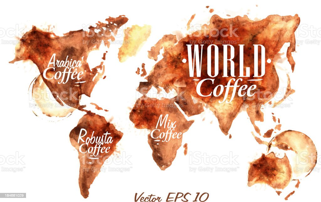Map world painted coffee vector art illustration