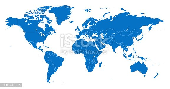 istock Map World Seperate Countries Blue with White Outline 1281612114