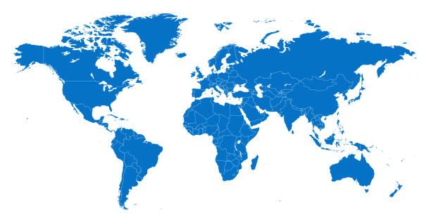 mapa świat oddzielaj kraje niebieski z białym konturem - mapa świata stock illustrations