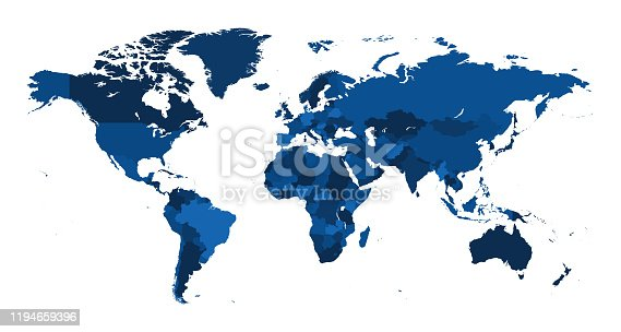 istock Map World Seperate Countries Classic Blue 1194659396