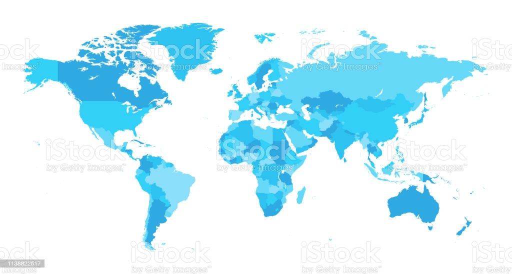地圖世界分離國家淺藍色 - 免版稅世界地圖圖庫向量圖形