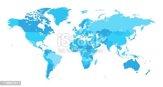 Vector of highly detailed world map - each country outlined and has its own labeled layer  - The url of the reference file is : http://www.lib.utexas.edu/maps/world.html - 1 layer of data used for the detailed outline of the land