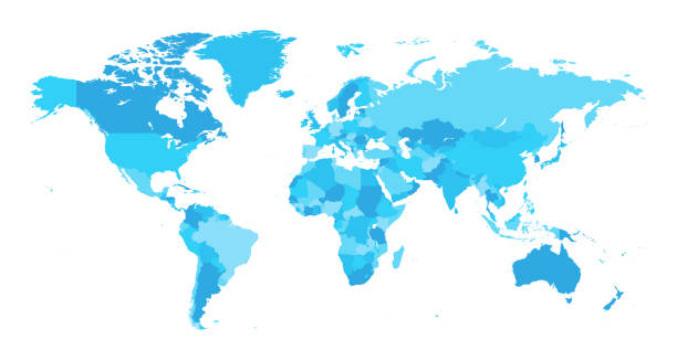 mapa świat oddzielnie kraje jasnoniebieski - mapa świata stock illustrations