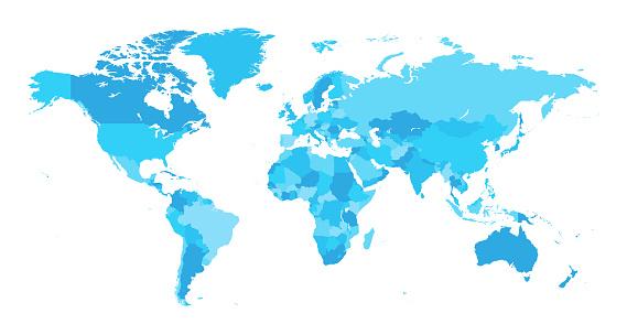 地圖世界分離國家淺藍色向量圖形及更多世界地圖圖片