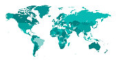 Map World Seperate Countries Turquoise