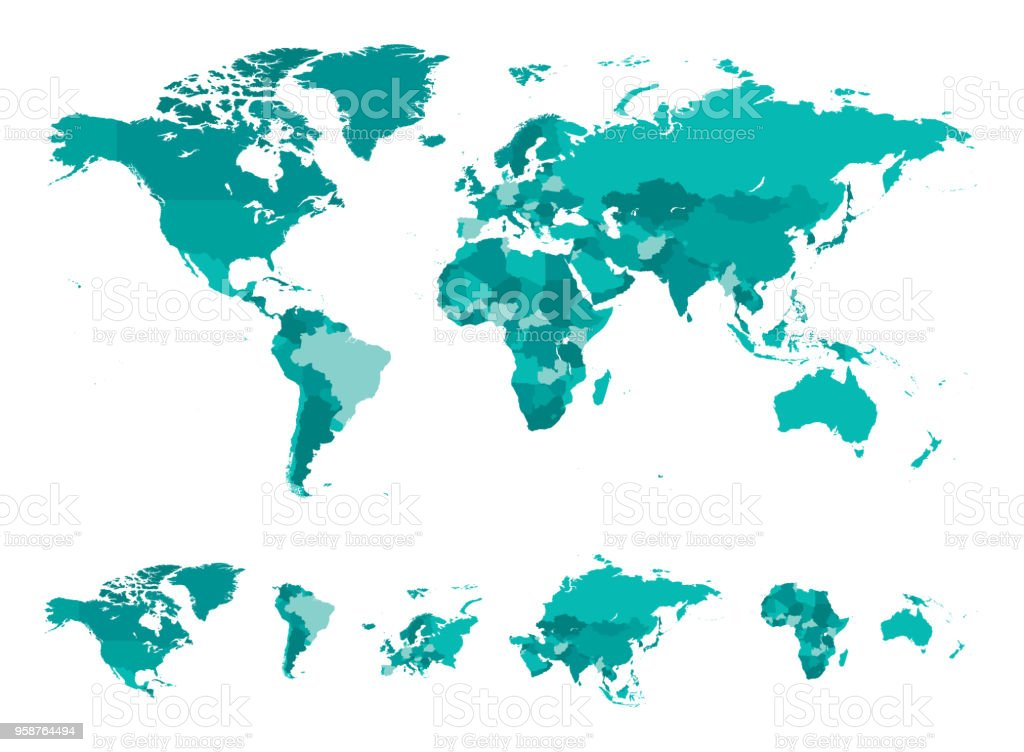 世界の別の国のターコイズをマップします。 - アジア大陸のロイヤリティフリーベクトルアート