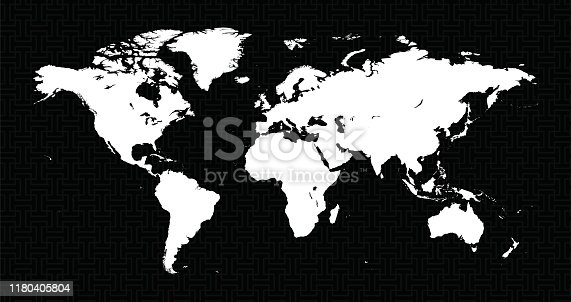 Vector of Map World with Background Nested Bars black Seamless Pattern  - The url of the reference file is : http://www.lib.utexas.edu/maps/world.html - 1 layer of data used for the detailed outline of the land
