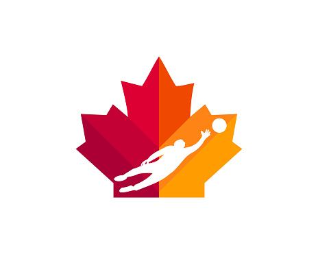 Maple Goalkeeper symbol design. Canadian Football Goalkeeper symbol. Red Maple leaf with Goalkeeper vector
