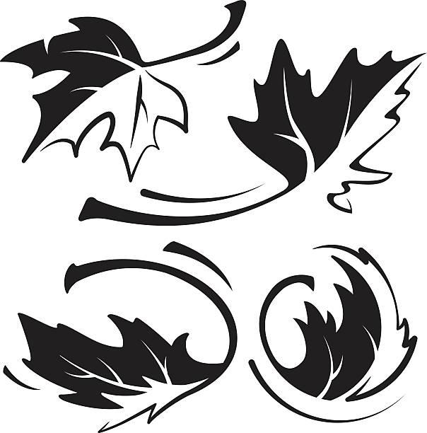 Maple Leaf Black & Weiß – Vektorgrafik