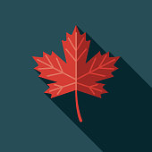 Maple Leaf Flat Design Canadian Icon with Side Shadow