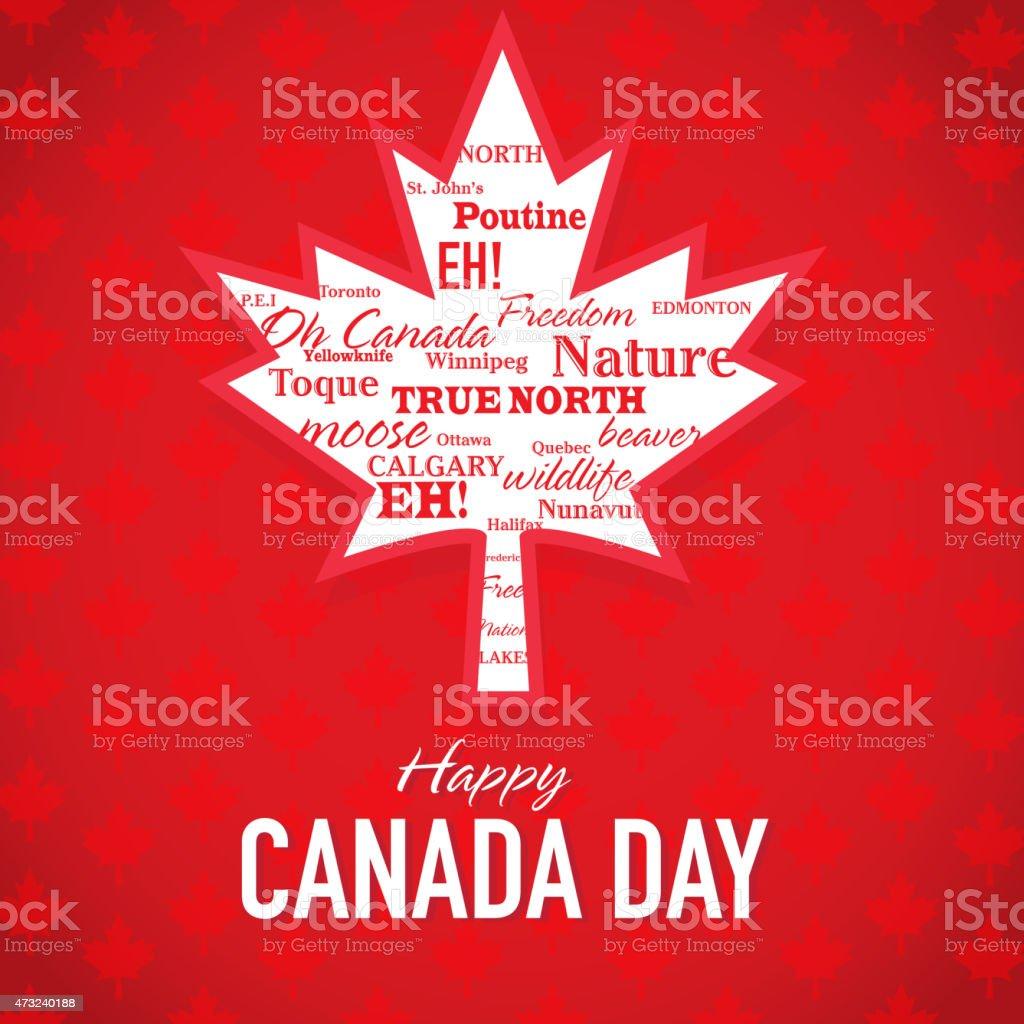 Maple Leaf Happy Canada Day Celebration Greeting Card Design