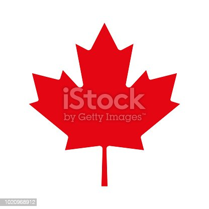 Red Maple leaf. Canadian symbol. Vector illustration.