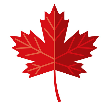 Maple Leaf Icon on Transparent Background
