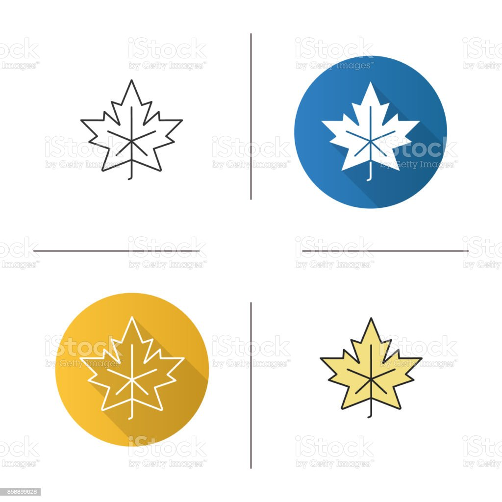 Maple leaf icon Maple leaf flat design, linear and color icons set Autumn stock vector
