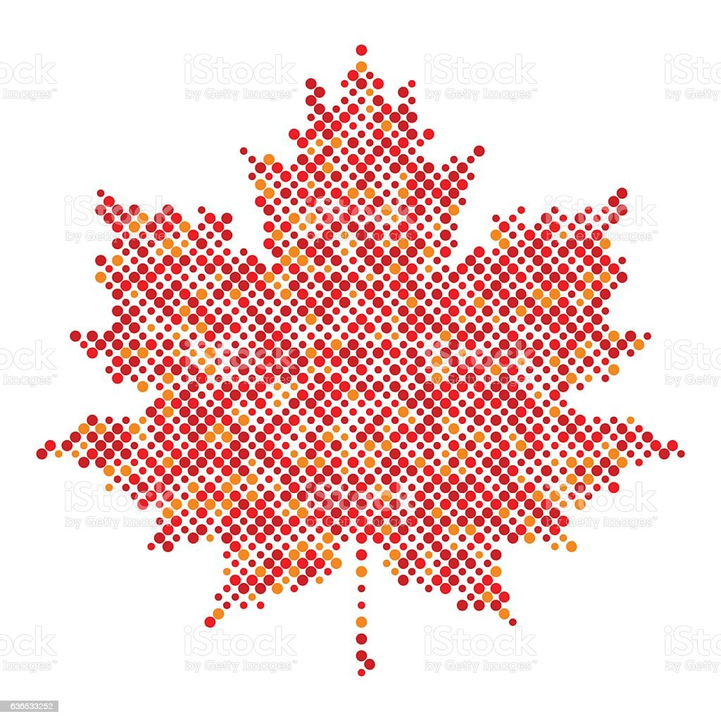 Maple leaf isolated dot abstract design symbol vector art illustration