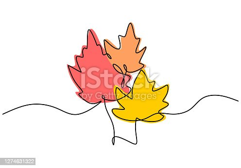 istock Maple leaf line art. One continuous line drawing abstract tropic spring isolated vector object on white background. Botany natural eco concept. Autumn leaves hand drawn design minimalism style 1274631322