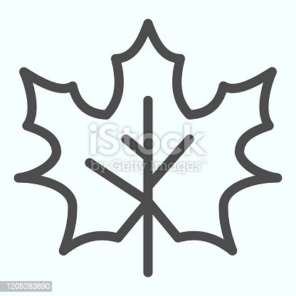 Maple leaf line icon. Canada forest tree leaves shape sign. Autumn season vector design concept, outline style pictogram on white background, use for web and app. Eps 10