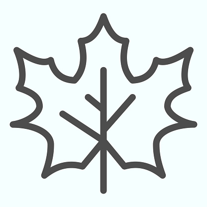 Maple leaf line icon. Canada forest tree leaves shape sign. Autumn season vector design concept, outline style pictogram on white background, use for web and app. Eps 10.
