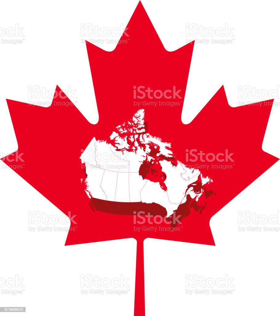 Maple leaf of Canadian flag with Canada map outline vector illustration background in an abstract 3D design vector art illustration