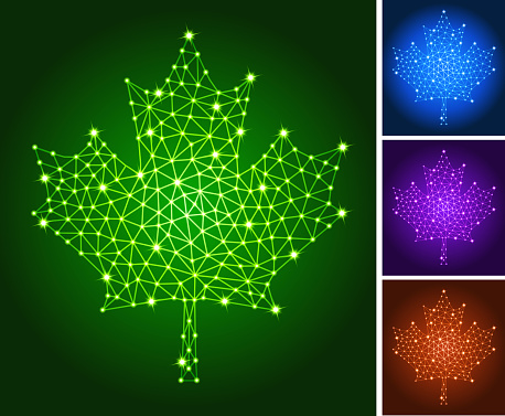 Maple Leaf on triangular nodes connection structure vector art
