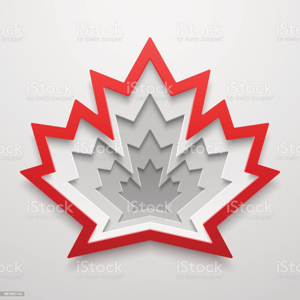 Ahornblatt Papier Kunst Form. Kanadisches Symbol Vektor-Illustration. Konzept, Design. – Vektorgrafik
