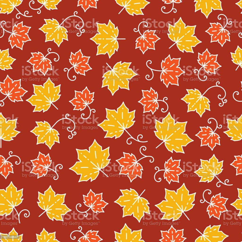 Maple leaf pattern line art Background with maple leaves vector art illustration