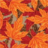 Maple Leaf Seamless Vector Pattern for Autumn
