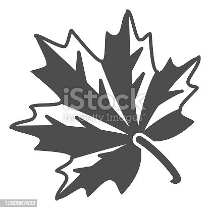istock Maple leaf solid icon, Oktoberfest concept, autumn symbol sign on white background, maple leaf icon in glyph style for mobile concept and web design. Vector graphics. 1280987633