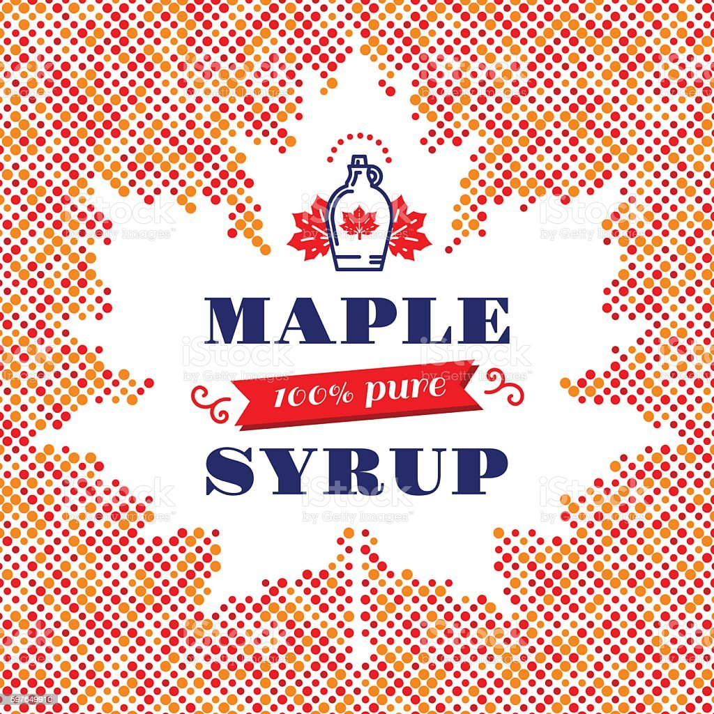Maple Leaf syrup square banner, Canadian food, American traditional products Maple syrup poster, square card, label. Canadian food, American traditional products, bottle icon. Vector modern concept of a maple leaf silhouette of colorful dots with space for text Abstract stock vector