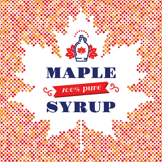 Maple Leaf syrup square banner, Canadian food, American traditional products Maple syrup poster, square card, label. Canadian food, American traditional products, bottle icon. Vector modern concept of a maple leaf silhouette of colorful dots with space for text maple syrup stock illustrations