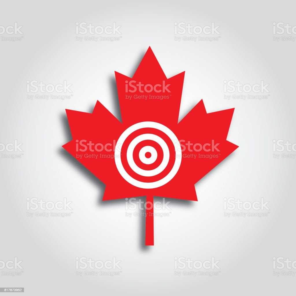 Maple Leaf Target Icon Stock Vector Art More Images Of Aiming