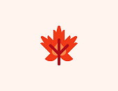 Maple Leaf vector icon. Isolated Canada, Canadian Maple Leaf flat colored symbol - Vector