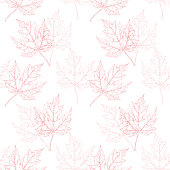 Maple Leaf Vector Watercolor and Ink Seamless Pattern