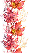 istock Maple Leaf Vector Watercolor and Ink Seamless Pattern with Copy Space 1179630189