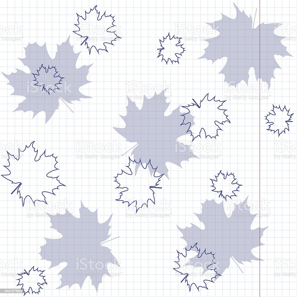 Maple leaves on a sheet of exercise book. royalty-free stock vector art