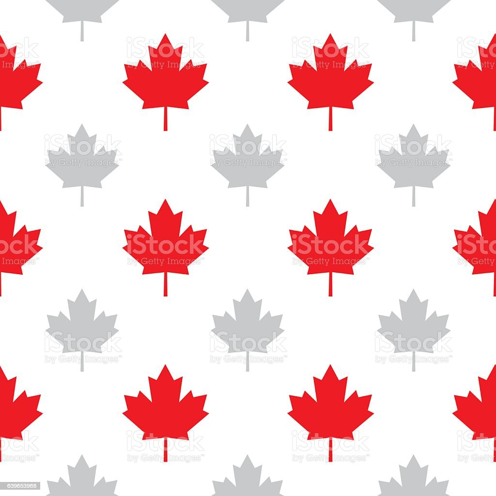 Maple Leaves Seamless Pattern Vector seamless pattern of red and gray maple leaves on a white background. Backgrounds stock vector