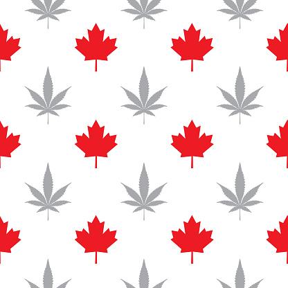 Maple Marijuana Leaves Seamless Pattern