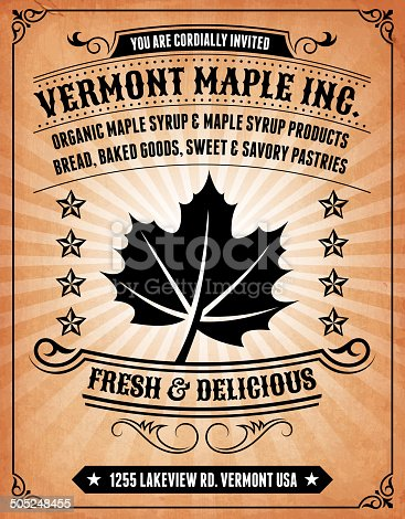 Maple Products Invitation on royalty free vector Background Poster