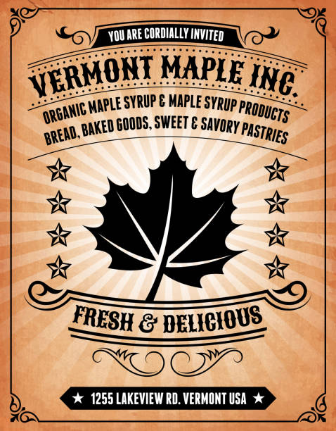 Maple Products Invitation on royalty free vector Background Poster Maple Products  Invitation on Grunge Background Poster maple syrup stock illustrations