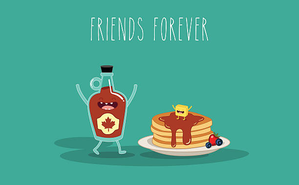 Maple syrup and pancake Vector cartoon. Breakfast. Friends forever. Maple syrup and pancake maple syrup stock illustrations